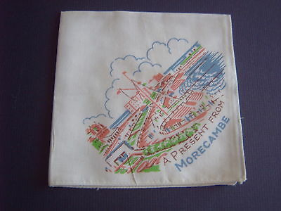 """ Vintage Handkerchief - 'a Present From Morecambe' - Printed Cotton"