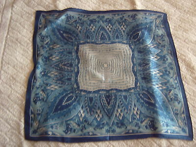 """ Vintage Handkerchief - Blue Paisley Design -  Silk? - Satin"