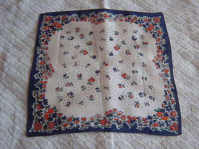 """ Vintage Handkerchief - Red/white/blue Floral Design -  Silk?"