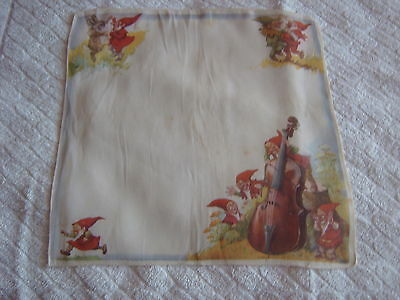 """ Vintage Handkerchief - Elves Playing A Cello"