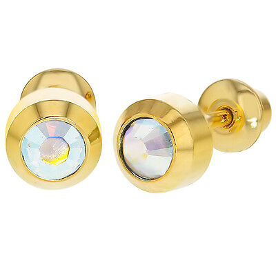 18k Gold Plated Clear Crystal Bezel Screw Back Earrings 4mm