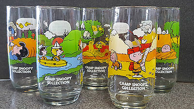 Set Of 5 Vintage Peanuts Camp Snoopy Collection Mcdonald'S Drinking Glasses