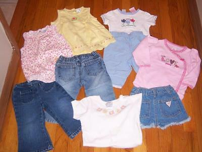 Lot 9 Piece Inf Baby Girls Name Brand Clothes Onesie Outfits Jeans 12-18 Months
