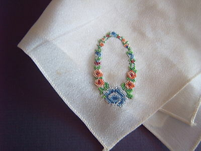 """ Vintage Handkerchief - Petit Point Hand Embroidery - Silk?"