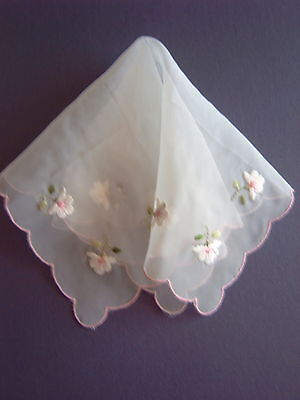 """ Vintage Handkerchief - Machine Embroidered Organdie"