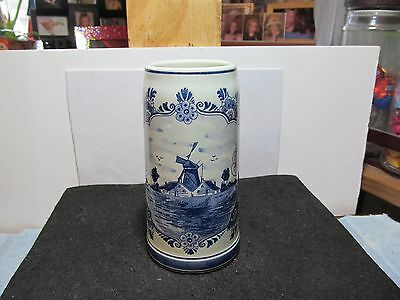 """Very nice 6 1/2"""" tall Hand Painted Delft Holland ceramic beer stein/mug."""