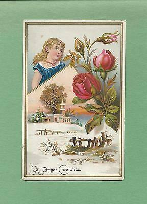 GIRL & ROSES On Lovely Unused Embossed VICTORIAN CHRISTMAS Greeting Card