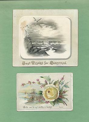 BIBLE VERSE On Lot of 2 Beautiful Unused VICTORIAN CHRISTMAS Greeting Cards