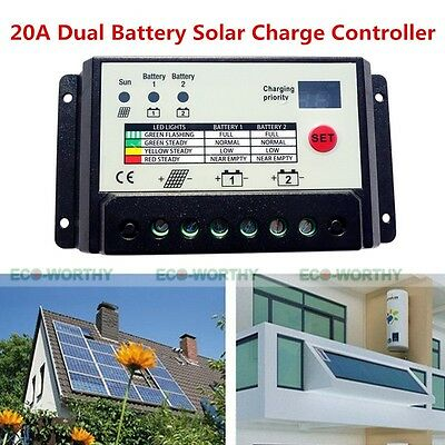 20A Dual-cell Solar panel Battery Regulator Charge Discharge Controller 12V 24V