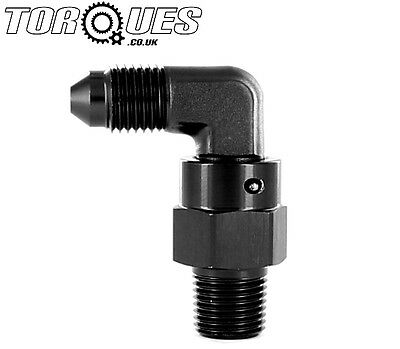 "AN -4 (AN4 AN 04) to 1/8"" NPT 90 Degree FORGED Swivel Adapter In Black"