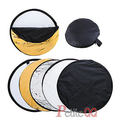 """New 5 in1 Reflector Collapsible Disc Photo Studio Light Multi Panel Bag 32"""" 80cm"""