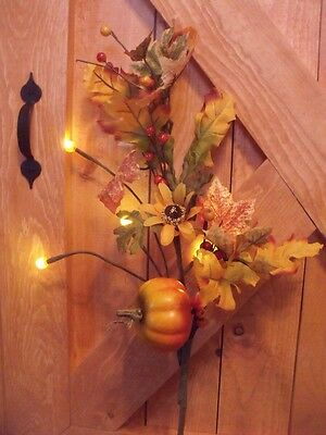 """Country Cottage Lighted Farm House Wildflowers Pumpkin Twig Tree Branch 24"""" Swag"""