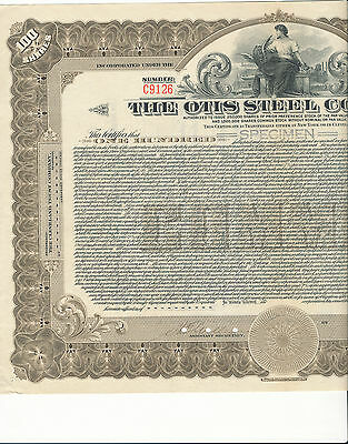 The Otis Steel Company Common Stock Certificate SPECIMEN