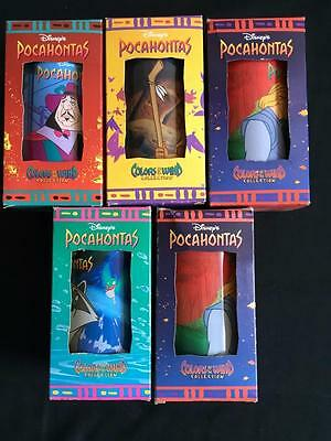 5 Disney Pocahontas Burger King Glasses Vintage Colors of the Wind NEW in box