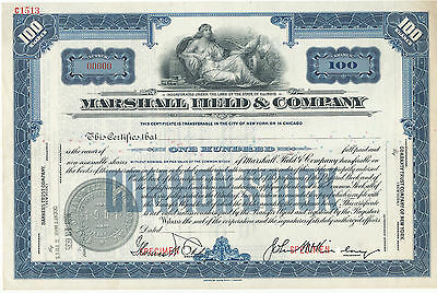 Marshall Field & Co Common Stock Certificate SPECIMEN Blue