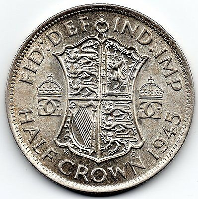GEORGE VI 1945 Half Crown Silver Coin high collectable grade with lustre