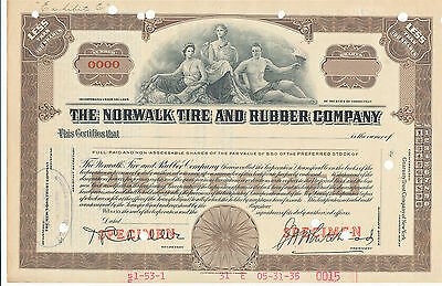 The Norwalk Tire and Rubber Co Preferred Stock Certificate Specimen