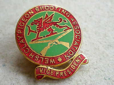 Vintage Enamel Hunting Badge Welsh Clay Pigeon Shooting Asso Vice President