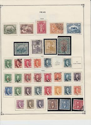 IRAQ 2 ALBUM PAGES COLLECTION LOT 1923+ $$$$$$$ 55 DIFF. STAMPS 99c NO RESERVE