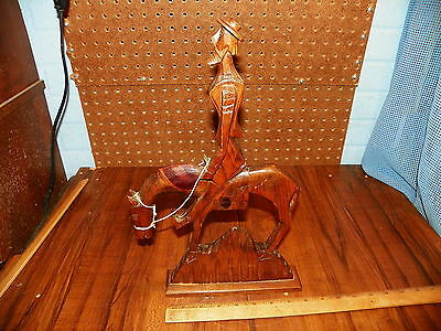 "Vintage Hand Carved Wood DON QUIXOTE On Horse Figurine - 15"" Tall"