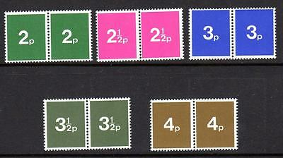 Early 1970s GB Post Office Training Stamps Set of 5 PAIRS - MNH Unmounted Mint