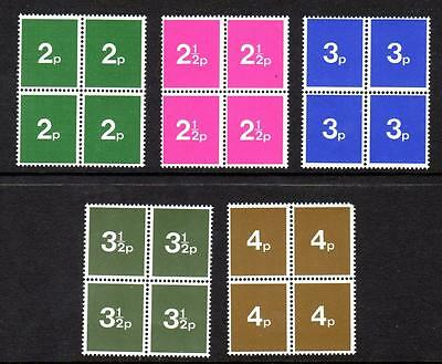 Early 1970s GB Post Office Training Stamps Set of 5 Blocks of Four MNH UMM Mint