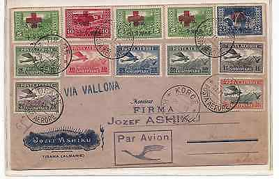 1925 Albania Cover Airmail+red cross semi-postal sets Aviation Rare etiquette