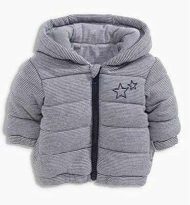 Next Baby Boys Blue And White Stripe Star Padded Coat 3-6 Months