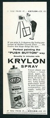 1957 Krylon spray paint spraypaint can woman with easel photo vintage print ad