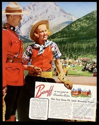 1942 RCMP Mountie photo Banff Springs Hotel Canadian Pacific vintage print ad