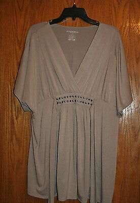 Liz Lage-Maternity Top-Shirt-Womens Size Large-Brown-Ties In Back-Cute/comfy