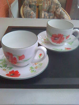 2 Royal Worcester Poppies Cups & Saucers