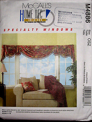 McCalls Window Treatments Drapes Curtains Bay Window Swags Pattern 4886 UC