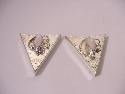 Vtg Antique Sterling Silver Hand Punched Mop Navajo Indian Collar Cowboy Tips
