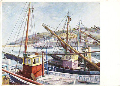 Newlyn, Cornwall, 1937 - artist post card 1980
