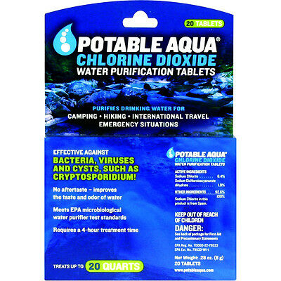 Potable Aqua Water Purification Chlorine Dioxide Tablets - 20 Pack