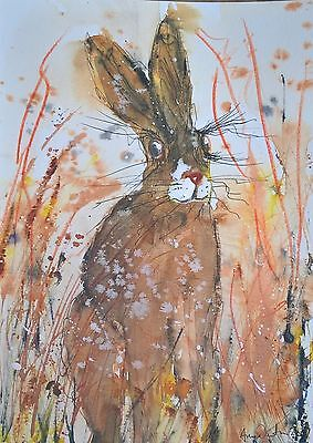 """Original , """"Hare/on the look out"""" 10 x7 1/2  Watercolour/ink By  Anne Newton"""