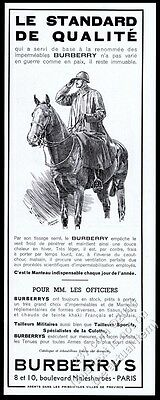1940 Burberrys trench coat soldier on horse art French vintage print ad