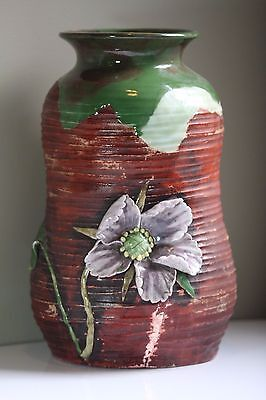 Large Antique Early 20thC Japanese Sumida Gawa Applied Floral Art Pottery Vase