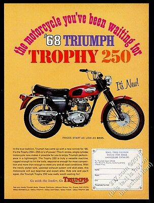 1968 Triumph Trophy 250 morocycle color photo vintage print ad