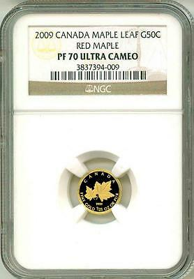 2009 G50c Canada Gold Maple Leaf Red Maple PF70 Ultra Cameo