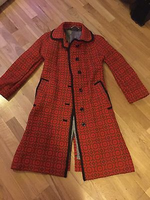 Vintage Retro 1960s Handmade Welsh Wool Tapestry Coat, Size 10/12