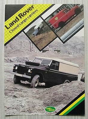 LAND ROVER CLOSED CARGO CARRIERS Sales Leaflet Apr 1982 #LR 202/4.82/5M