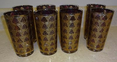 8 Vintage CULVER TUMBLERS 22K GOLD/PURPLE SPADES  High Ball Glasses