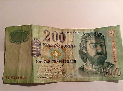 HUNGARY  ~ 200 FORINT BANKNOTE - King Charles Robert/Castle of Diosgyor