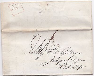 1827 London Late Fee Letter  Miss F E Gibson Judge Lodge Derby Detailed A/c Due