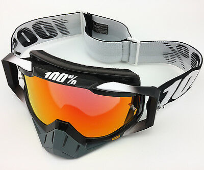 100% PERCENT RACECRAFT MOTOCROSS MX GOGGLES ABYSS BLACK with RED MIRROR LENS