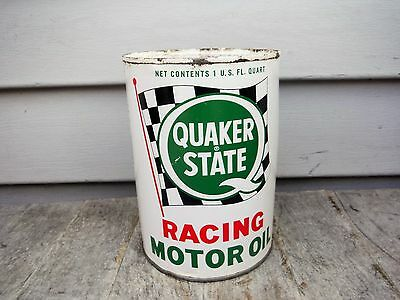 Vintage 1 Quart Quaker State Racing Motor Oil Can Full! Nice Graphics Nr!