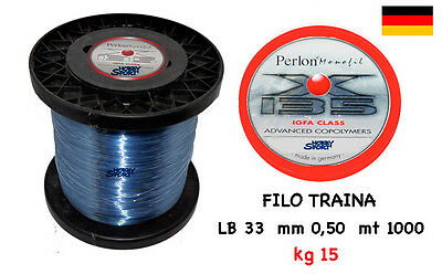 FILO PERLON  mt 1000 X 135 TRAINA BIG GAME 33 LB OMOLOGATO IGFA CLASS mm 0,50