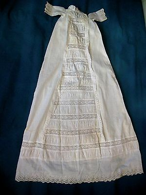 """Fancy Antique Victorian Child Baby Doll Lace Christening Gown Dress   40"""" Long"""